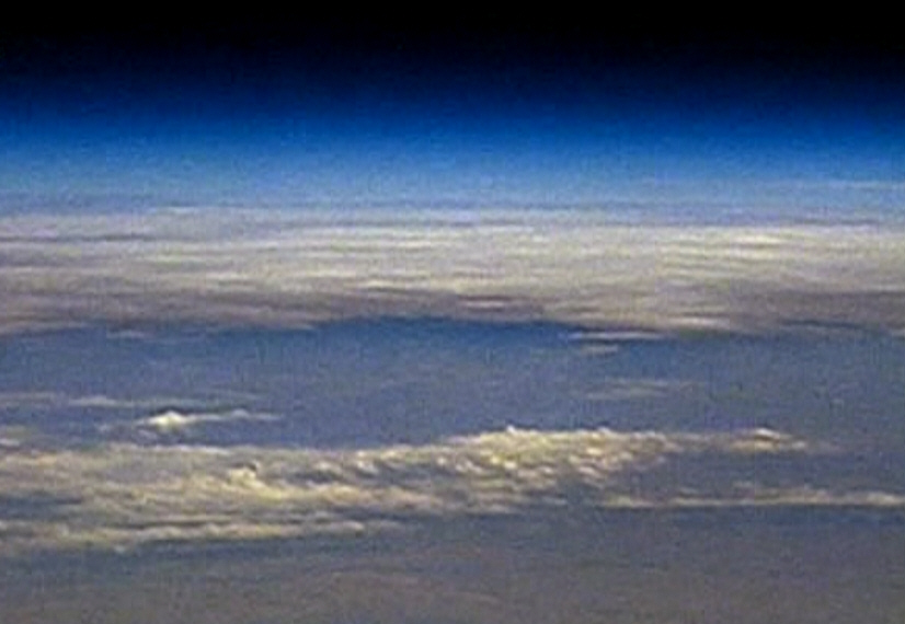 View of the earth from the balloon at 31000 meters above sea level ...